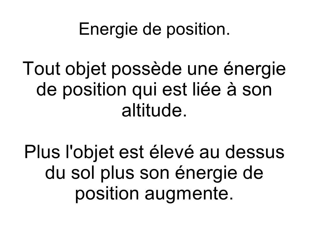 Energie de position. Tout objet possède une énergie de position qui est liée à son altitude. Plus l'objet est élevé au dessus du sol plus son énergie