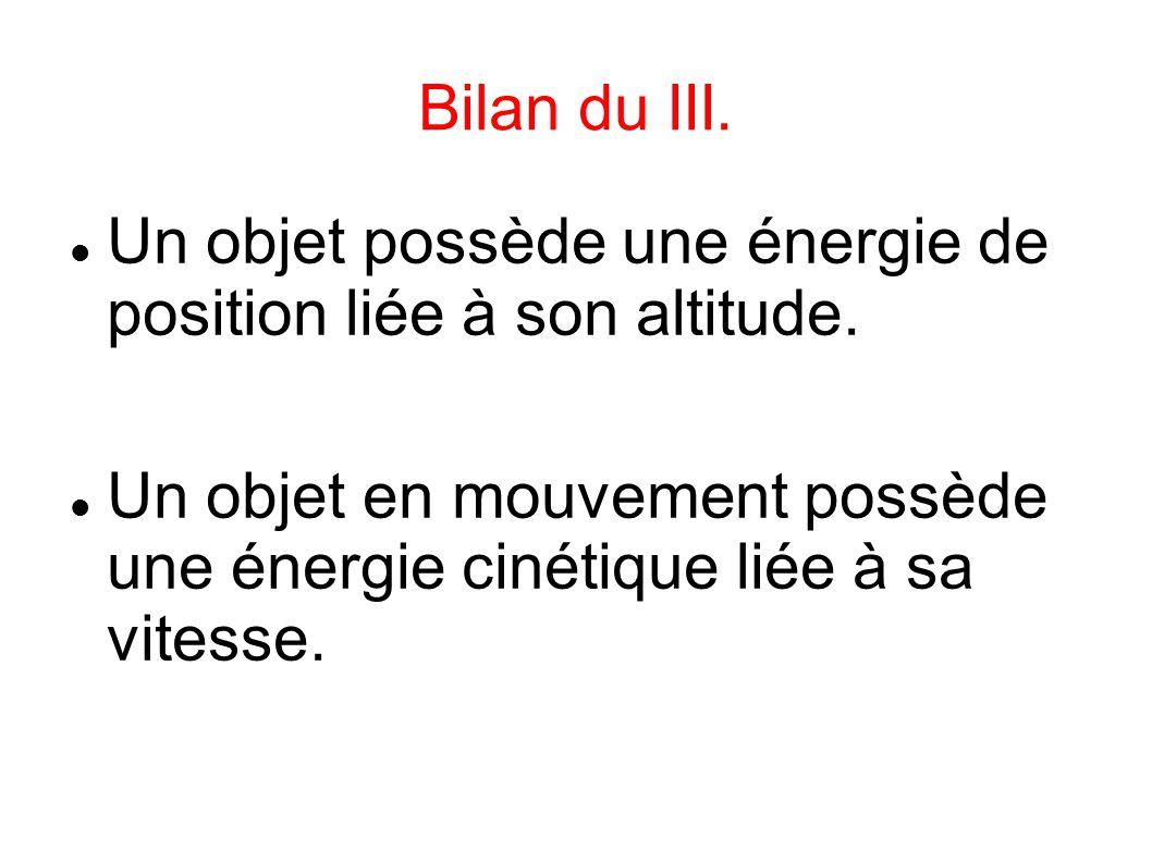 Bilan du III. Un objet possède une énergie de position liée à son altitude. Un objet en mouvement possède une énergie cinétique liée à sa vitesse.