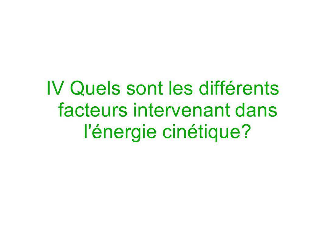 IV Quels sont les différents facteurs intervenant dans l'énergie cinétique?