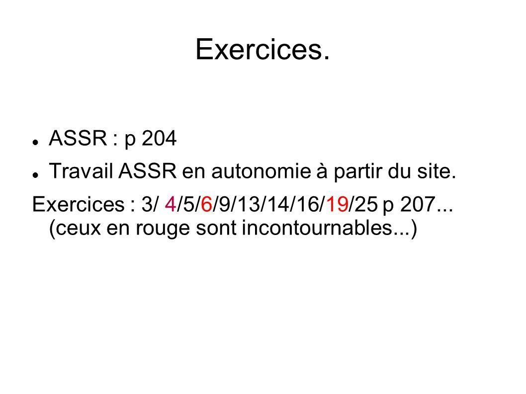 Exercices. ASSR : p 204 Travail ASSR en autonomie à partir du site. Exercices : 3/ 4/5/6/9/13/14/16/19/25 p 207... (ceux en rouge sont incontournables