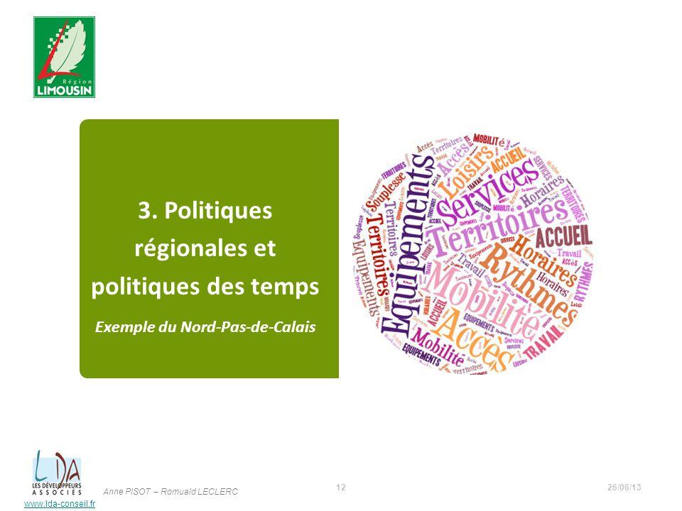 www.lda-conseil.fr 3. Politiques régionales et politiques des temps Exemple du Nord-Pas-de-Calais 26/06/1312 Anne PISOT – Romuald LECLERC