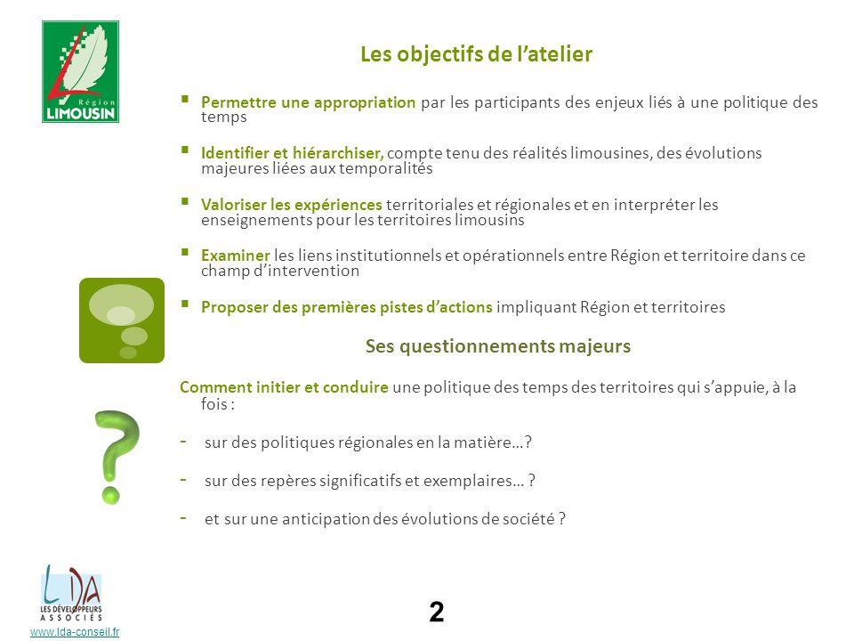www.lda-conseil.fr Les objectifs de latelier Permettre une appropriation par les participants des enjeux liés à une politique des temps Identifier et