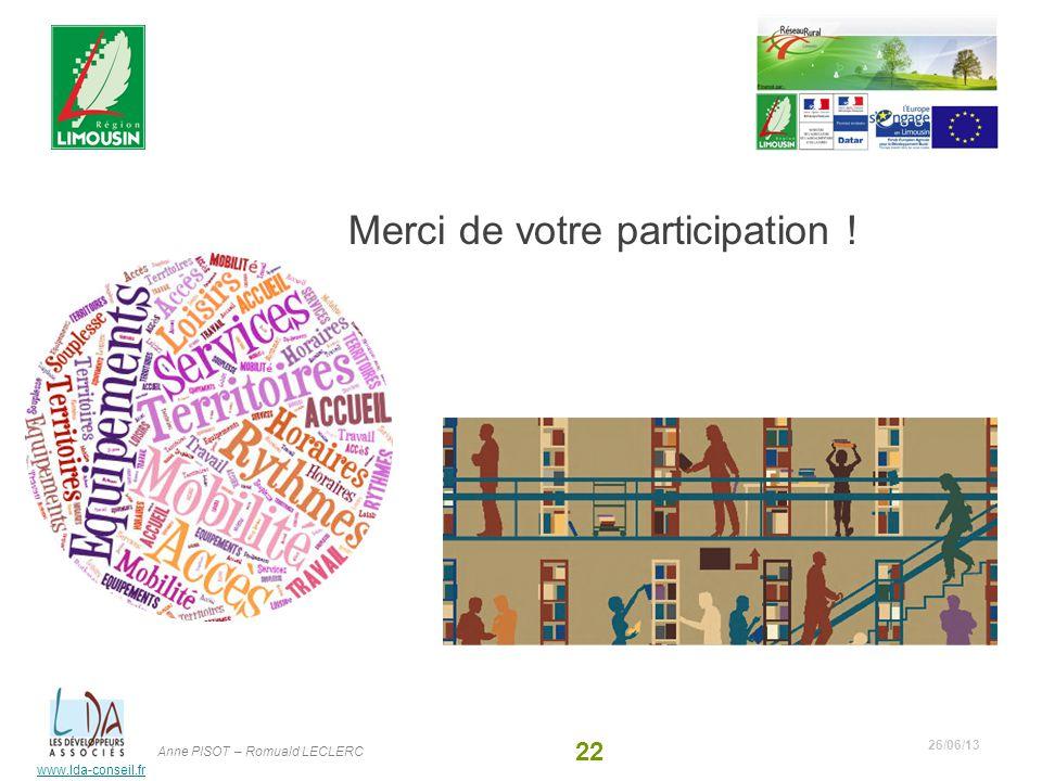 www.lda-conseil.fr Merci de votre participation ! 26/06/13 22 Anne PISOT – Romuald LECLERC