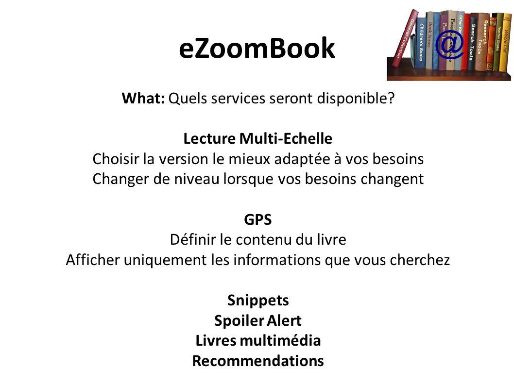 eZoomBook What: Quels services seront disponible.