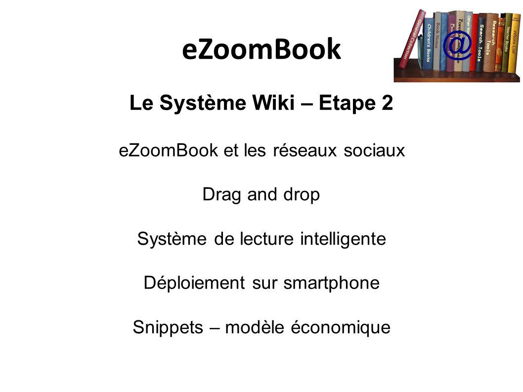eZoomBook @ Le Système Wiki – Etape 2 eZoomBook et les réseaux sociaux Drag and drop Système de lecture intelligente Déploiement sur smartphone Snippets – modèle économique