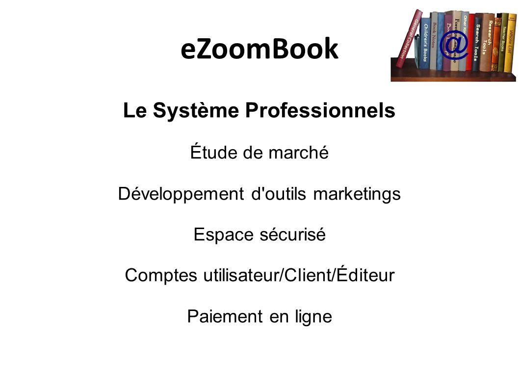 eZoomBook @ Le Système Professionnels Étude de marché Développement d outils marketings Espace sécurisé Comptes utilisateur/Client/Éditeur Paiement en ligne