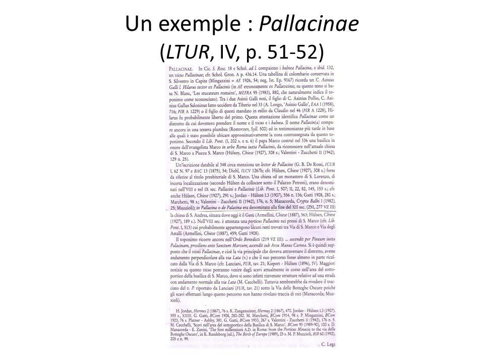 Un exemple : Pallacinae (LTUR, IV, p. 51-52)