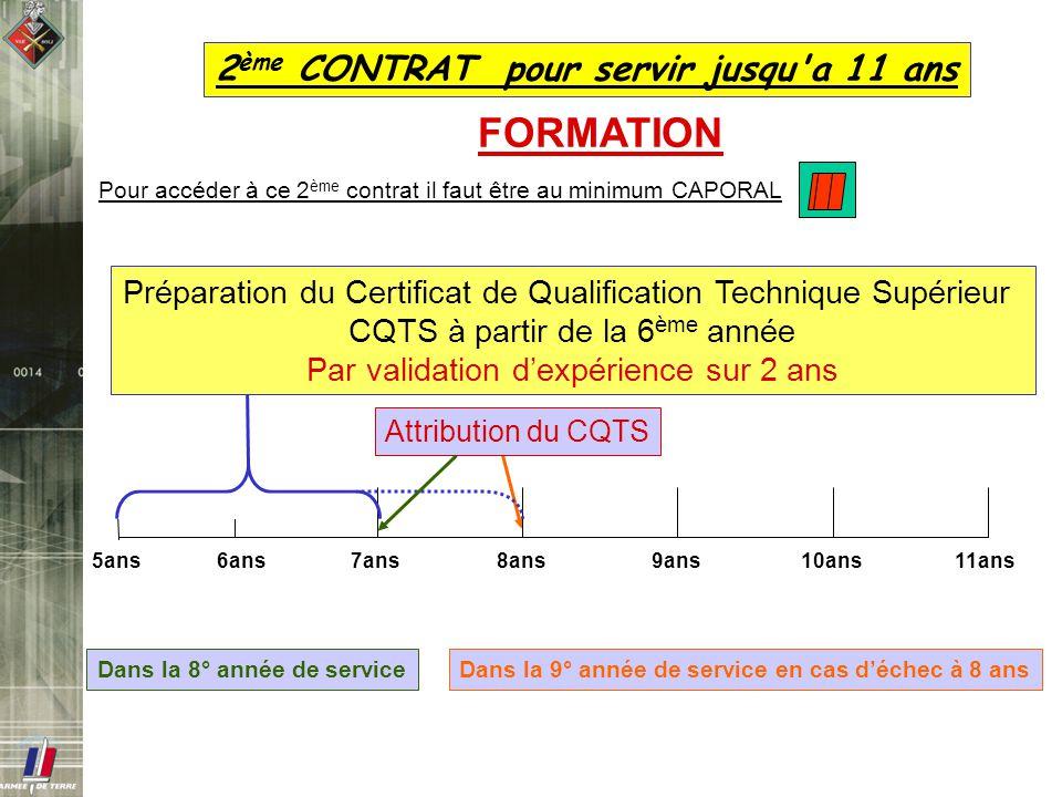 Dans la 9° année de service en cas déchec à 8 ans 2 ème CONTRAT pour servir jusqu'a 11 ans Pour accéder à ce 2 ème contrat il faut être au minimum CAP