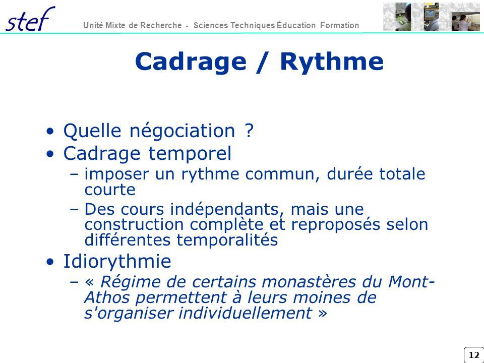 12 Unité Mixte de Recherche - Sciences Techniques Éducation Formation Cadrage / Rythme Quelle négociation ? Cadrage temporel –imposer un rythme commun