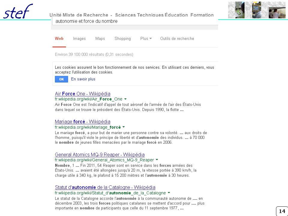 14 Unité Mixte de Recherche - Sciences Techniques Éducation Formation