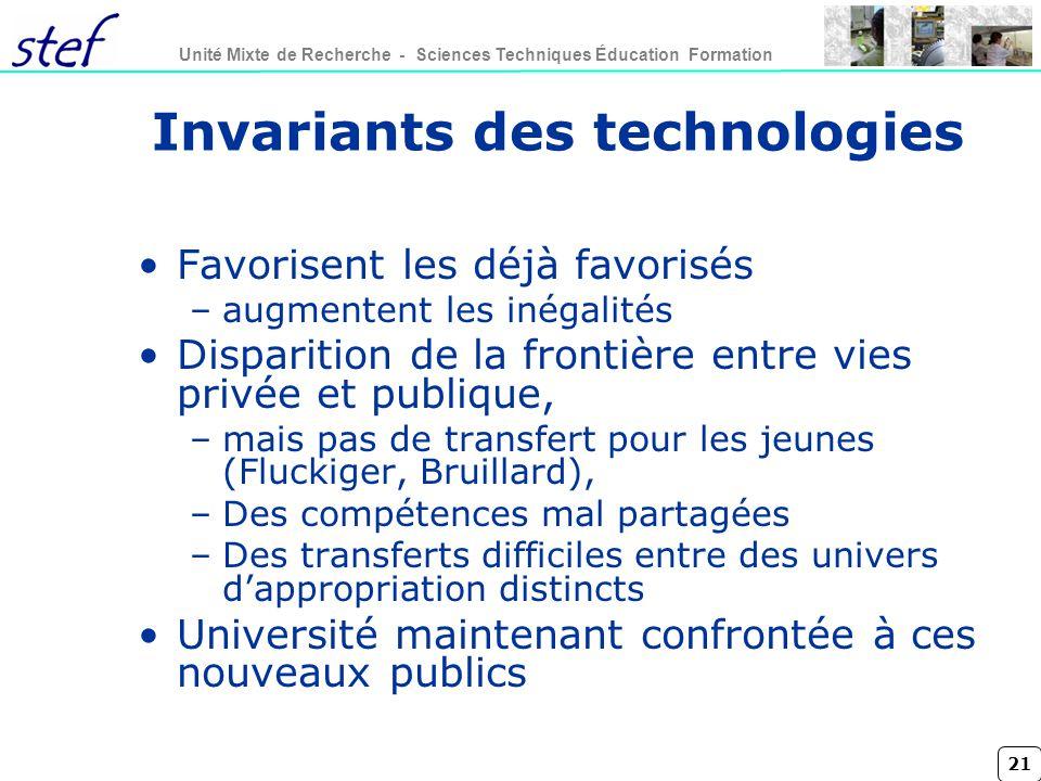 21 Unité Mixte de Recherche - Sciences Techniques Éducation Formation Invariants des technologies Favorisent les déjà favorisés –augmentent les inégal
