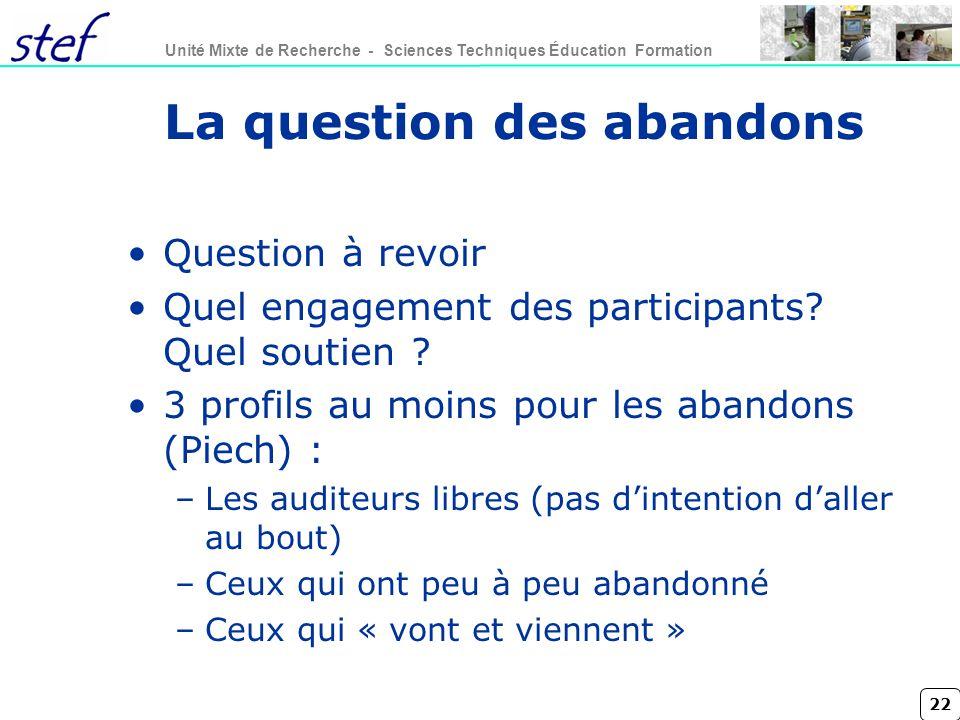 22 Unité Mixte de Recherche - Sciences Techniques Éducation Formation La question des abandons Question à revoir Quel engagement des participants.