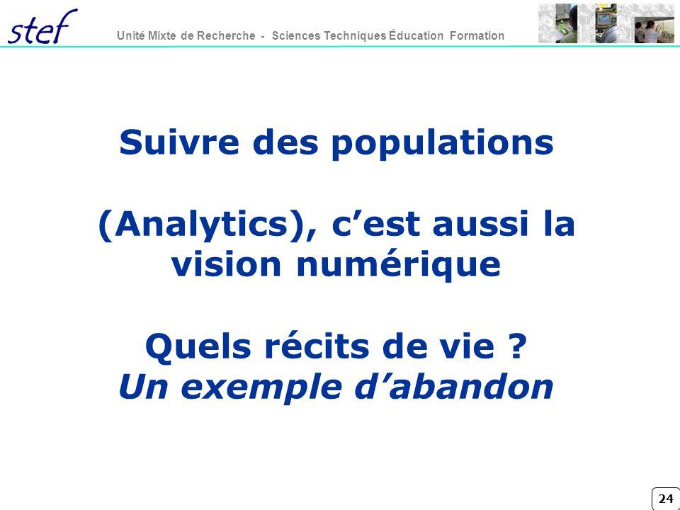 24 Unité Mixte de Recherche - Sciences Techniques Éducation Formation Suivre des populations (Analytics), cest aussi la vision numérique Quels récits de vie .
