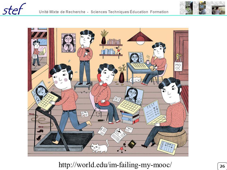 26 Unité Mixte de Recherche - Sciences Techniques Éducation Formation http://world.edu/im-failing-my-mooc/