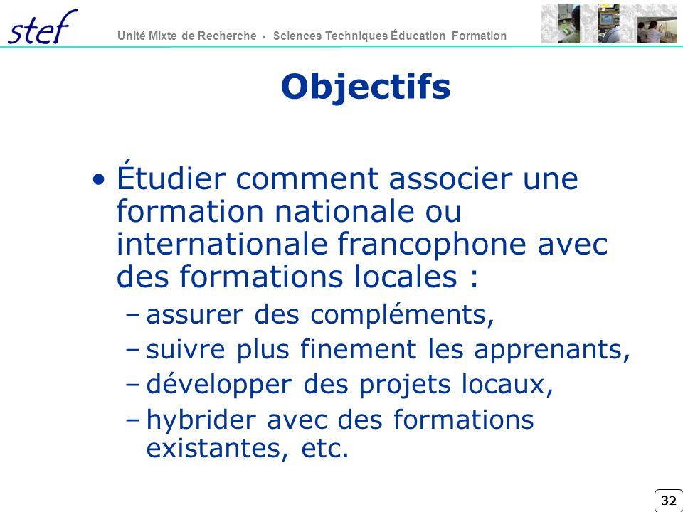 32 Unité Mixte de Recherche - Sciences Techniques Éducation Formation Objectifs Étudier comment associer une formation nationale ou internationale fra