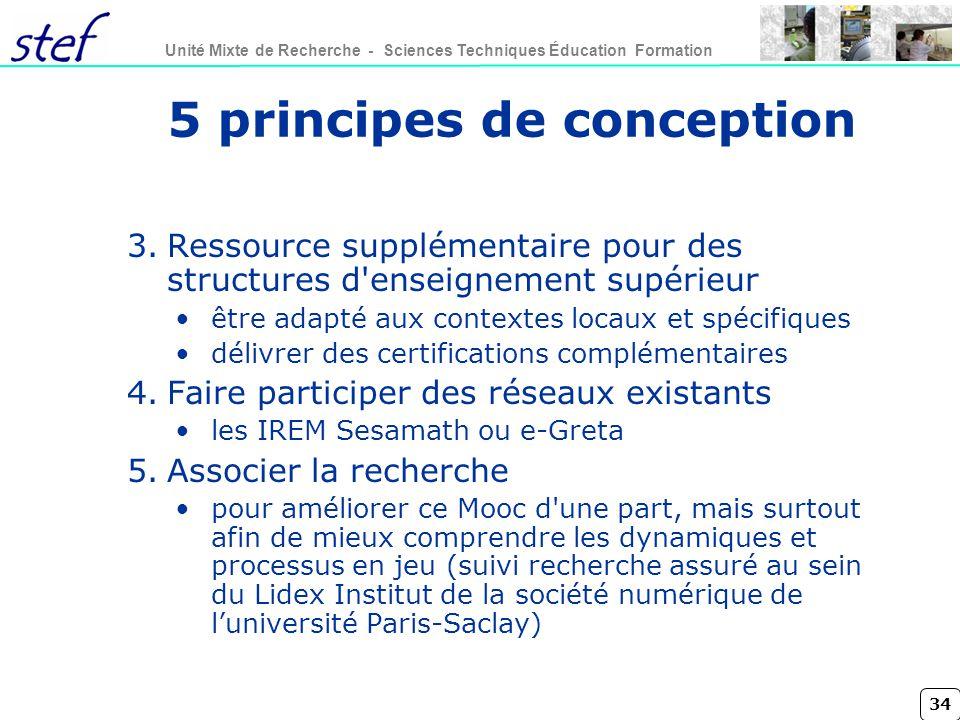 34 Unité Mixte de Recherche - Sciences Techniques Éducation Formation 5 principes de conception 3.Ressource supplémentaire pour des structures d'ensei