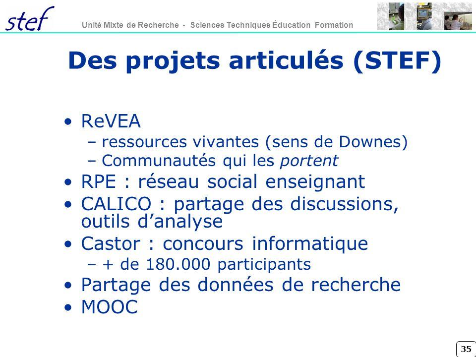 35 Unité Mixte de Recherche - Sciences Techniques Éducation Formation Des projets articulés (STEF) ReVEA –ressources vivantes (sens de Downes) –Commun