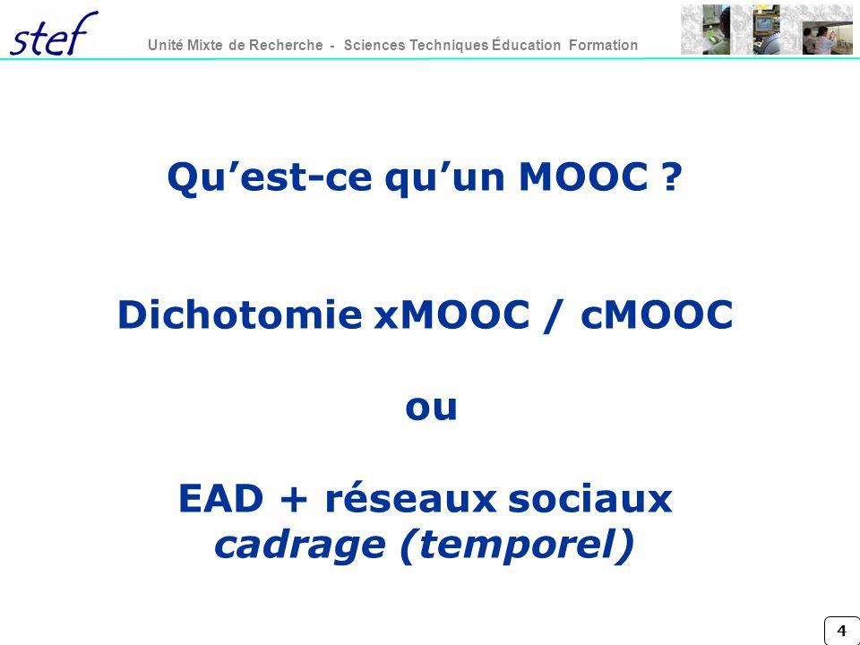 4 Unité Mixte de Recherche - Sciences Techniques Éducation Formation Quest-ce quun MOOC ? Dichotomie xMOOC / cMOOC ou EAD + réseaux sociaux cadrage (t