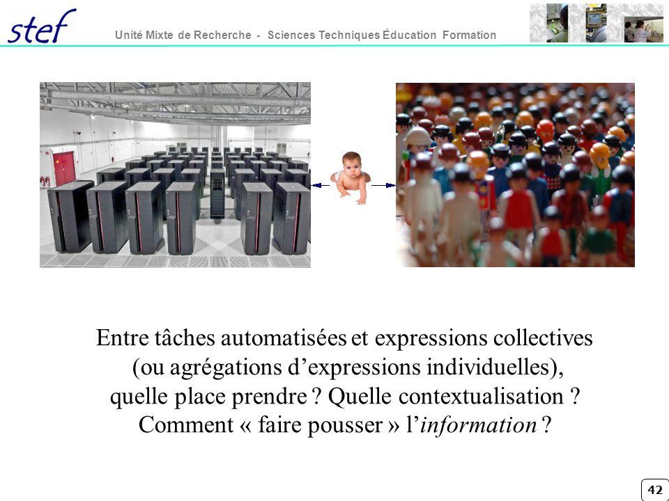 42 Unité Mixte de Recherche - Sciences Techniques Éducation Formation Entre tâches automatisées et expressions collectives (ou agrégations dexpressions individuelles), quelle place prendre .