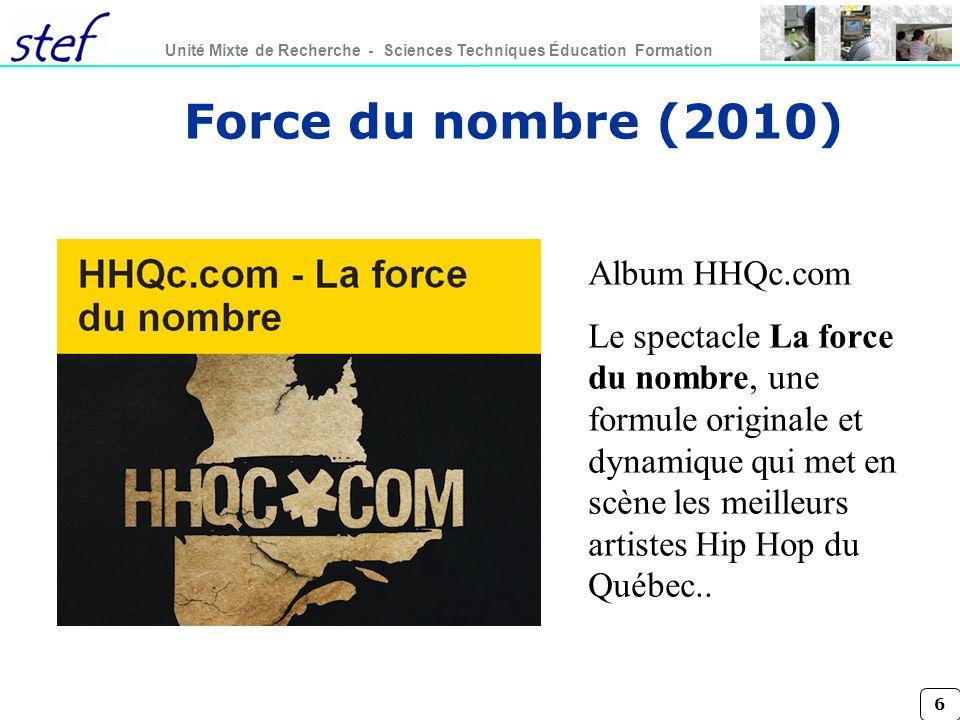 6 Unité Mixte de Recherche - Sciences Techniques Éducation Formation Album HHQc.com Le spectacle La force du nombre, une formule originale et dynamique qui met en scène les meilleurs artistes Hip Hop du Québec..