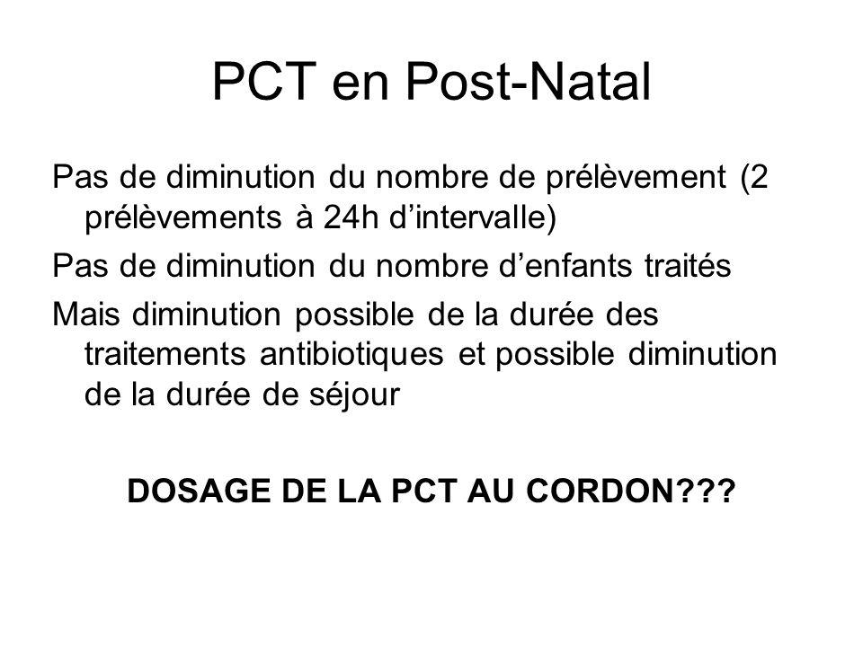 PCT en Post-Natal Pas de diminution du nombre de prélèvement (2 prélèvements à 24h dintervalle) Pas de diminution du nombre denfants traités Mais dimi