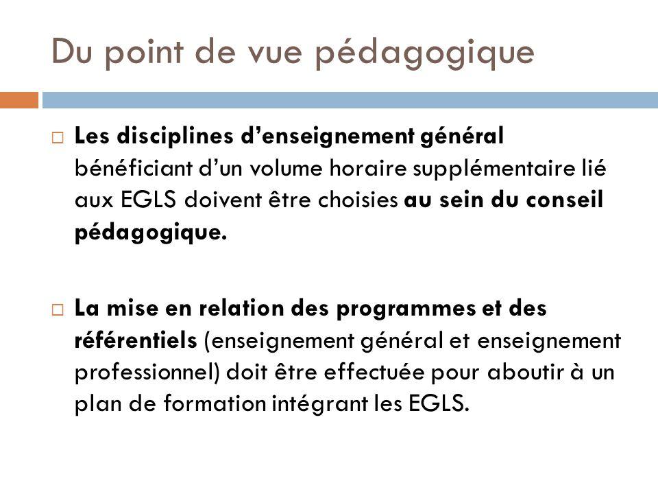 Du point de vue pédagogique Les disciplines denseignement général bénéficiant dun volume horaire supplémentaire lié aux EGLS doivent être choisies au