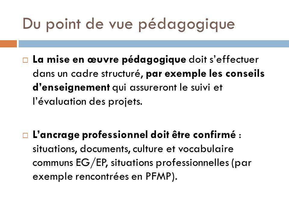 Du point de vue pédagogique La mise en œuvre pédagogique doit seffectuer dans un cadre structuré, par exemple les conseils denseignement qui assureron