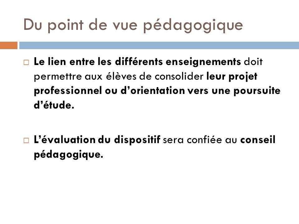 Du point de vue pédagogique Le lien entre les différents enseignements doit permettre aux élèves de consolider leur projet professionnel ou dorientati