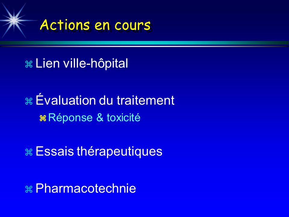 Actions en cours z Lien ville-hôpital z Évaluation du traitement z Réponse & toxicité z Essais thérapeutiques z Pharmacotechnie