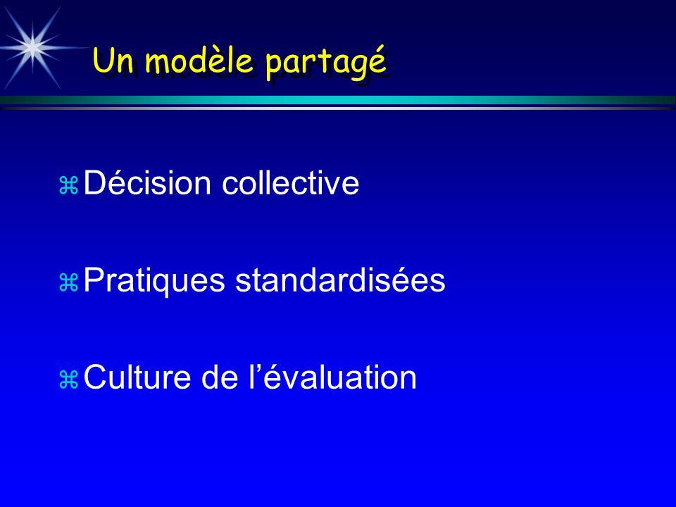Un modèle partagé z Décision collective z Pratiques standardisées z Culture de lévaluation