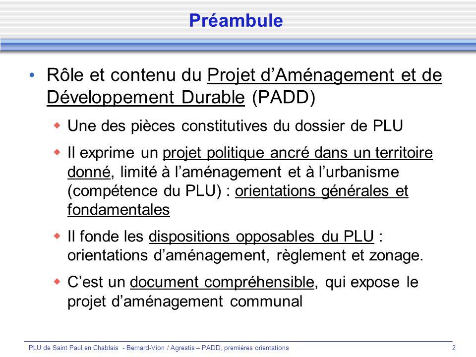 PLU de Saint Paul en Chablais - Bernard-Vion / Agrestis – PADD, premières orientations3 Quels objectifs pour le PADD .