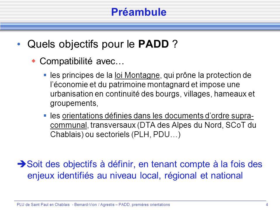 PLU de Saint Paul en Chablais - Bernard-Vion / Agrestis – PADD, premières orientations4 Quels objectifs pour le PADD .