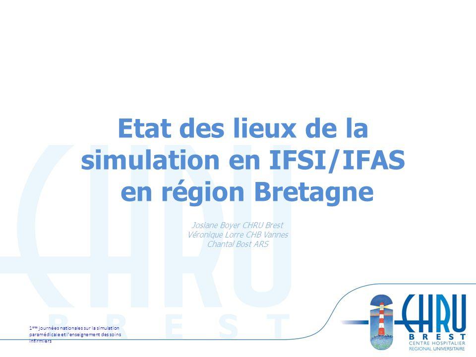 1 eres journées nationales sur la simulation paramédicale et lenseignement des soins infirmiers 1 Etat des lieux de la simulation en IFSI/IFAS en régi