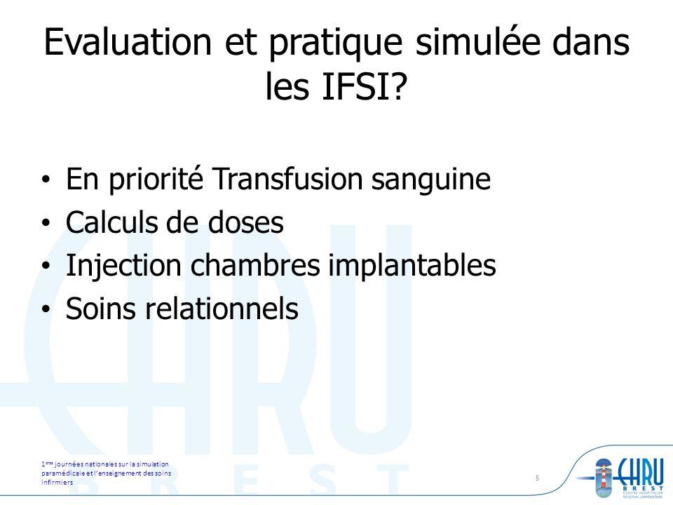 1 eres journées nationales sur la simulation paramédicale et lenseignement des soins infirmiers 5 Evaluation et pratique simulée dans les IFSI? En pri