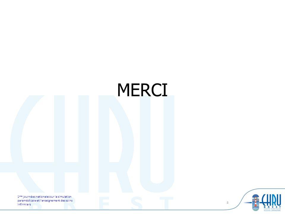 1 eres journées nationales sur la simulation paramédicale et lenseignement des soins infirmiers 8 MERCI