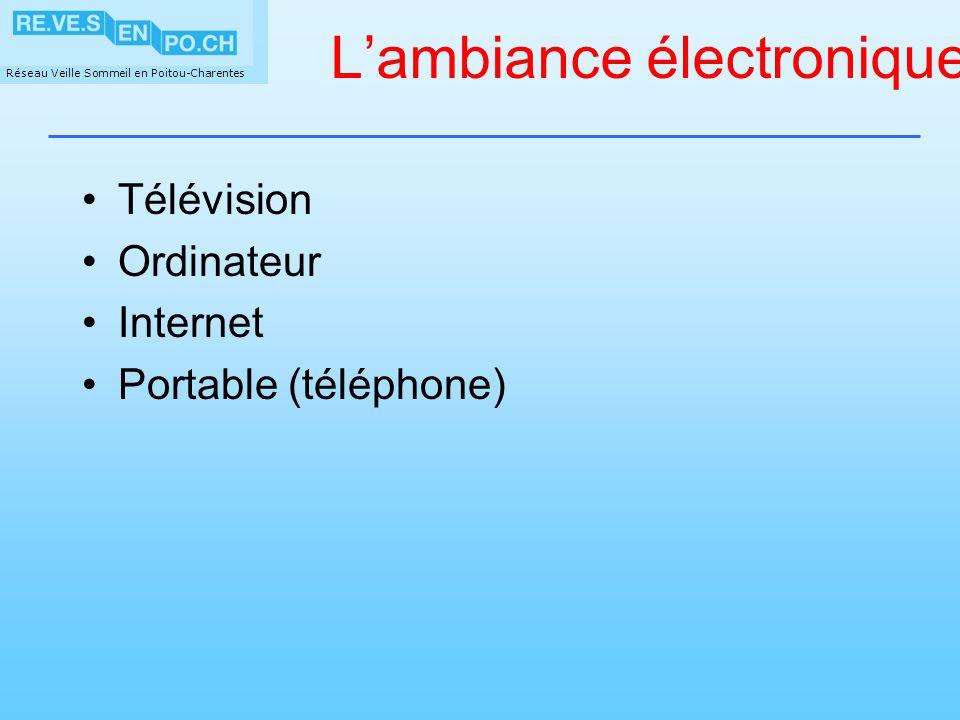 Réseau Veille Sommeil en Poitou-Charentes Lambiance électronique Télévision Ordinateur Internet Portable (téléphone)