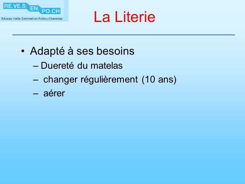 Réseau Veille Sommeil en Poitou-Charentes La Literie Adapté à ses besoins –Duereté du matelas – changer régulièrement (10 ans) – aérer