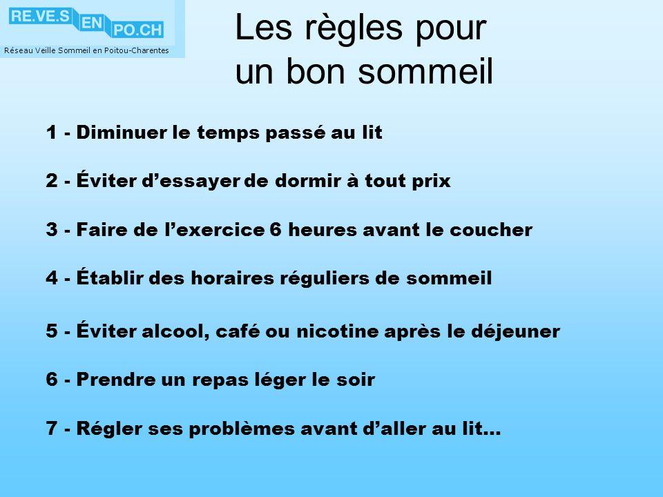 Réseau Veille Sommeil en Poitou-Charentes 1 - Diminuer le temps passé au lit 2 - Éviter dessayer de dormir à tout prix 3 - Faire de lexercice 6 heures
