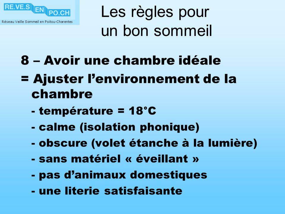 Réseau Veille Sommeil en Poitou-Charentes 8 – Avoir une chambre idéale = Ajuster lenvironnement de la chambre - température = 18°C - calme (isolation