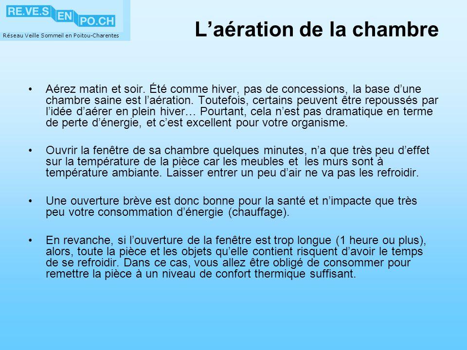 Réseau Veille Sommeil en Poitou-Charentes Laération de la chambre Aérez matin et soir. Été comme hiver, pas de concessions, la base dune chambre saine