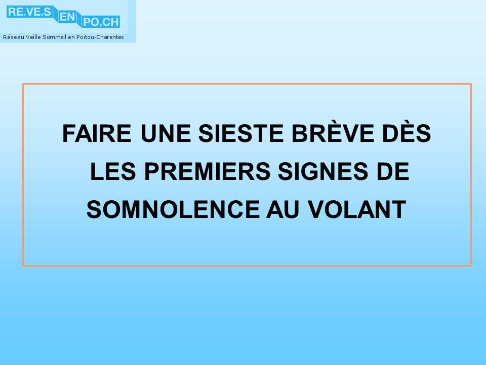 Réseau Veille Sommeil en Poitou-Charentes FAIRE UNE SIESTE BRÈVE DÈS LES PREMIERS SIGNES DE SOMNOLENCE AU VOLANT