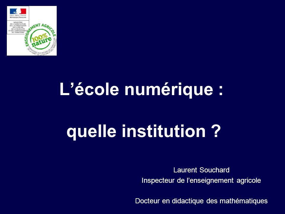 Lécole numérique : quelle institution ? Laurent Souchard Inspecteur de lenseignement agricole Docteur en didactique des mathématiques