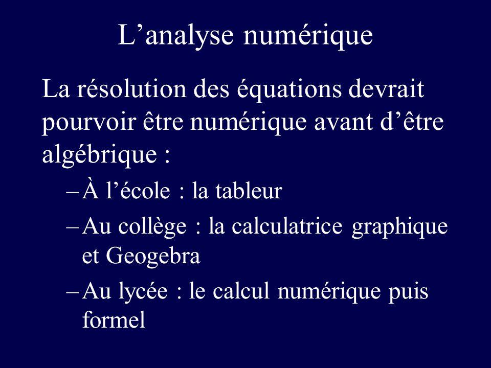Lanalyse numérique La résolution des équations devrait pourvoir être numérique avant dêtre algébrique : –À lécole : la tableur –Au collège : la calcul