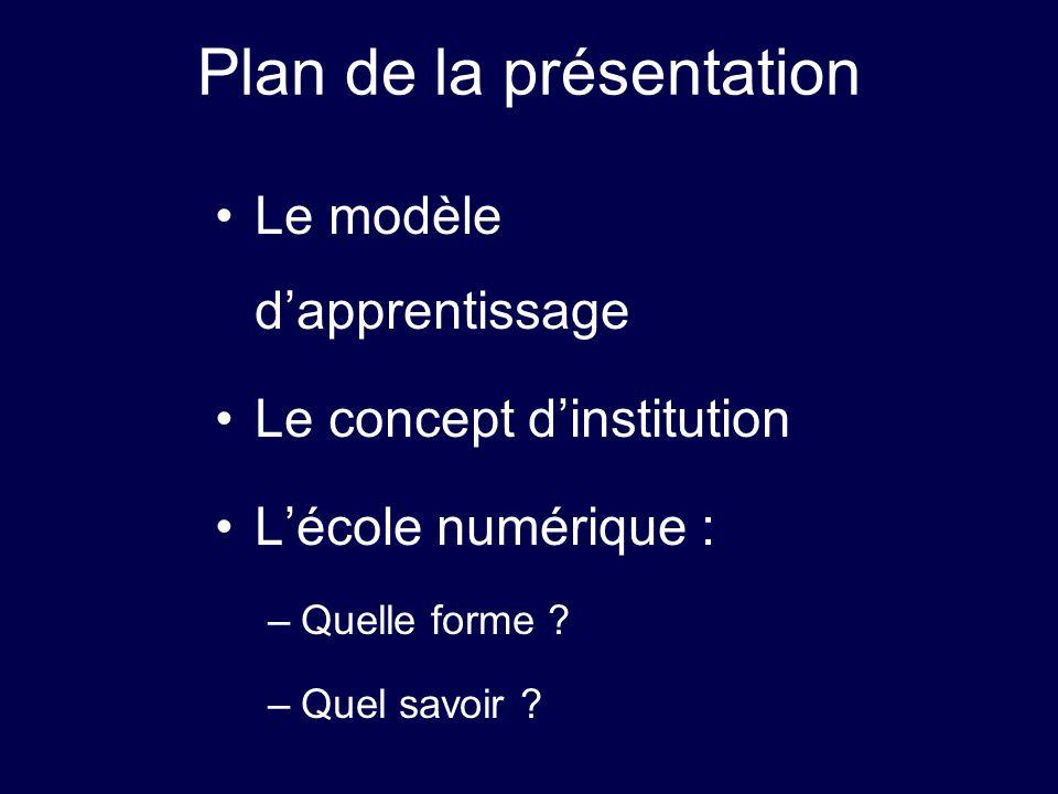 Plan de la présentation Le modèle dapprentissage Le concept dinstitution Lécole numérique : –Quelle forme ? –Quel savoir ?
