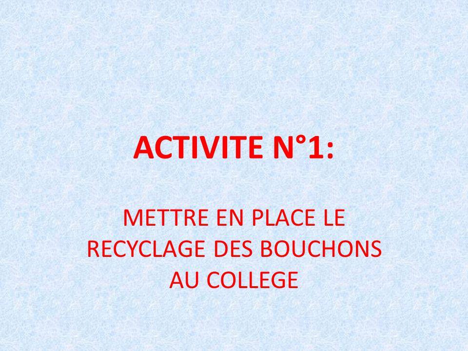 ACTIVITE N°1: METTRE EN PLACE LE RECYCLAGE DES BOUCHONS AU COLLEGE