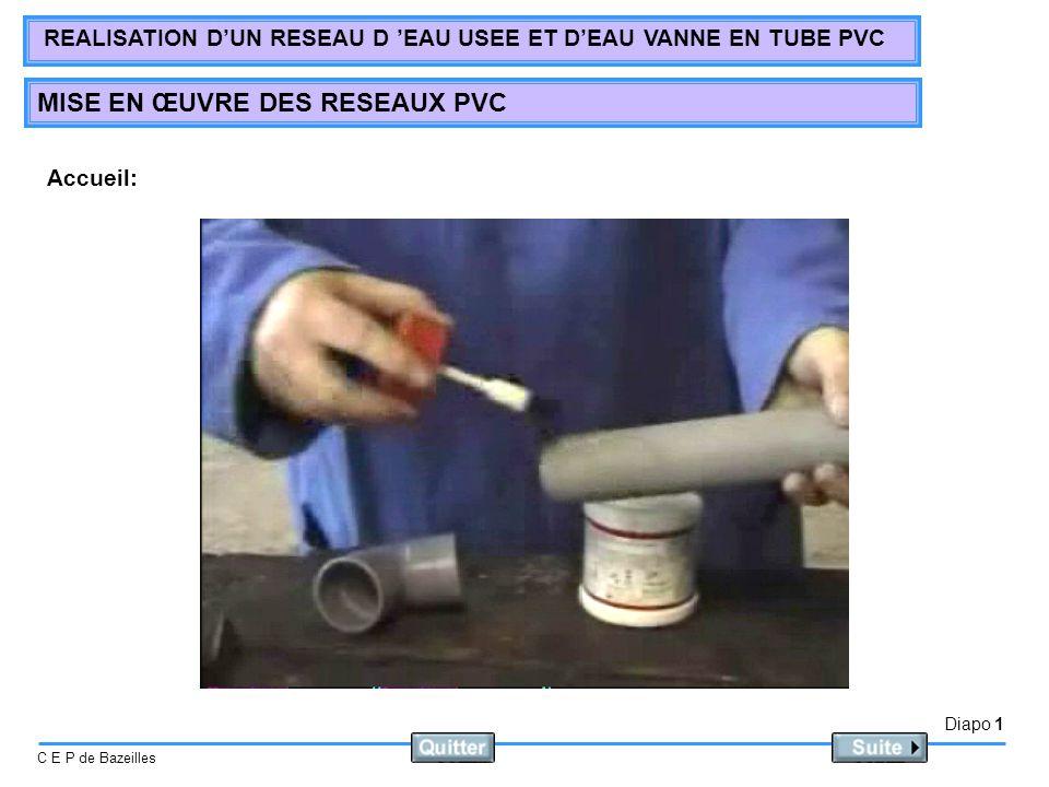 Diapo 1 C E P de Bazeilles REALISATION DUN RESEAU D EAU USEE ET DEAU VANNE EN TUBE PVC MISE EN ŒUVRE DES RESEAUX PVC Accueil: