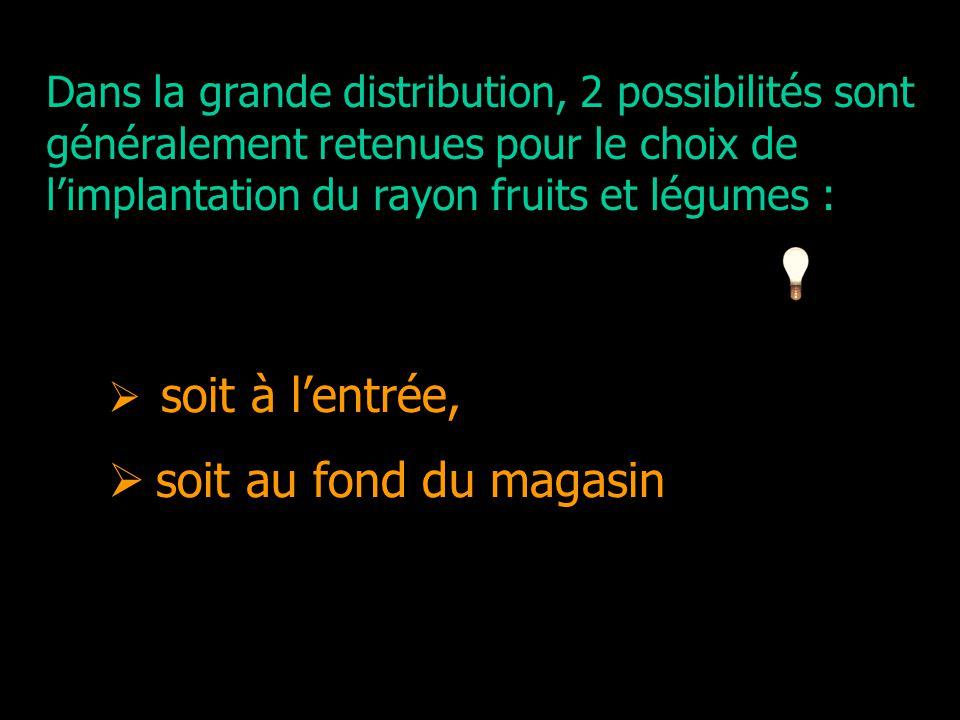 2 possibilités d' Dans la grande distribution, 2 possibilités sont généralement retenues pour le choix de limplantation du rayon fruits et légumes : s