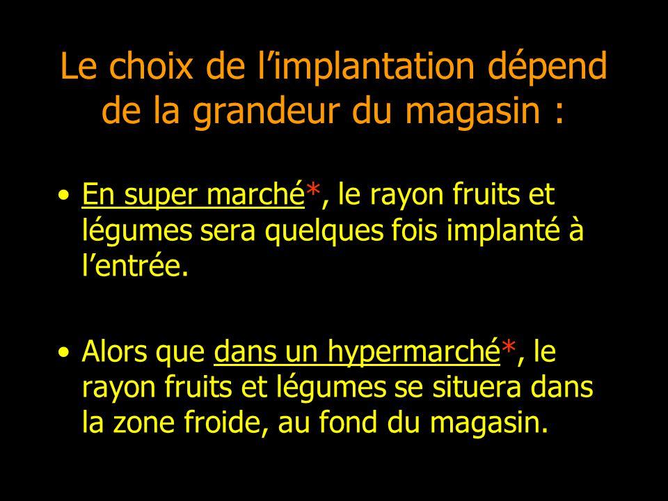 Le choix de limplantation dépend de la grandeur du magasin : En super marché*, le rayon fruits et légumes sera quelques fois implanté à lentrée. Alors
