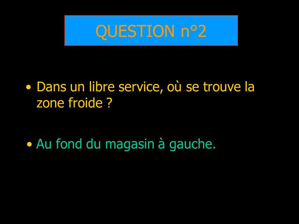 QUESTION n°2 Dans un libre service, où se trouve la zone froide ? Au fond du magasin à gauche.