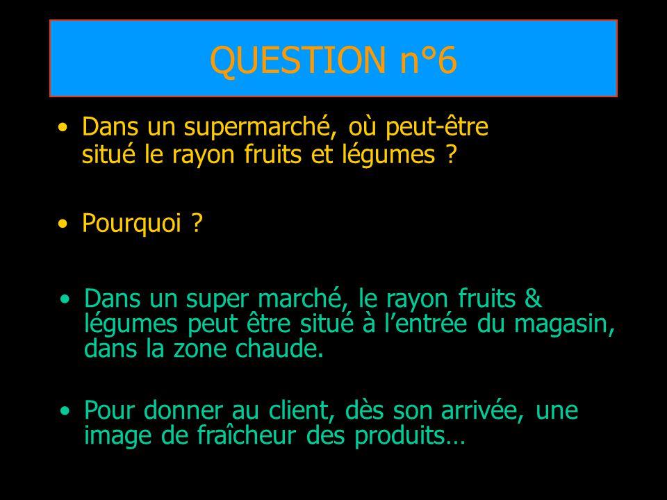 QUESTION n°6 Dans un supermarché, où peut-être situé le rayon fruits et légumes ? Pourquoi ? Dans un super marché, le rayon fruits & légumes peut être